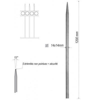 pièce élément ferronnier serrurier Barreau appointé CARRE Longueur 1200 Section 14x14 ACIER FER FORGE Ref: 1CL14-1200