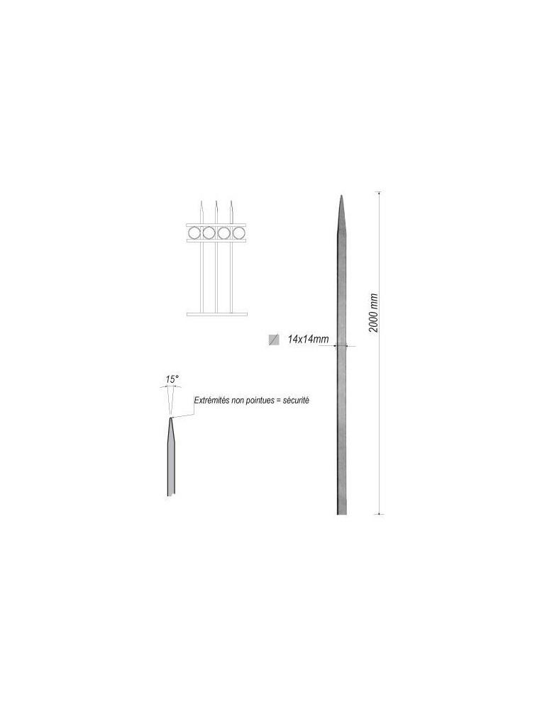pièce élément ferronnier serrurier Barreau appointé CARRE Longueur 2000 Section 14x14 ACIER FER FORGE Ref: 1CL14-2000