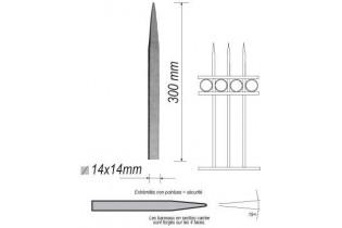 pièce élément ferronnier serrurier Barreau appointé CARRE Longueur 300 Section 14x14 ACIER FER FORGE Ref: 1CL14-300