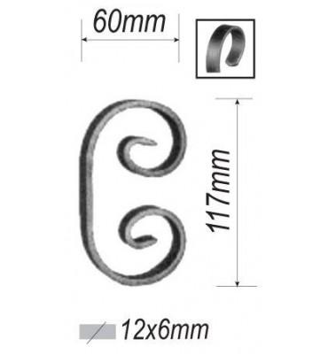 pièce élément ferronnier serrurier VOLUTE en C LISSE PLAT 117x60 Section 12x6 ACIER FER FORGE Ref: F53.301
