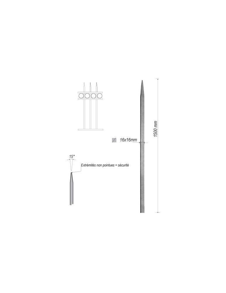 pièce élément ferronnier serrurier Barreau appointé CARRE Longueur 1500 Section 16x16 ACIER FER FORGE Ref: 1CL16-1500