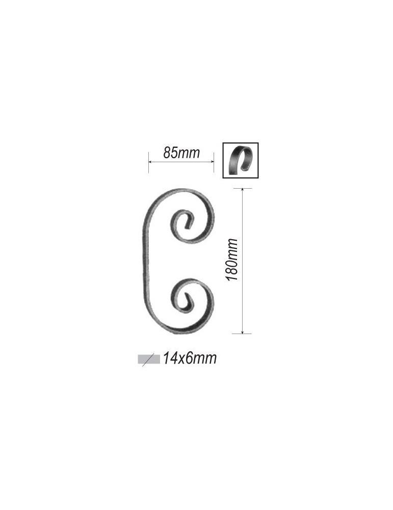 pièce élément ferronnier serrurier VOLUTE en C LISSE PLAT 180x85 Section 14x6 ACIER FER FORGE Ref: F53.310