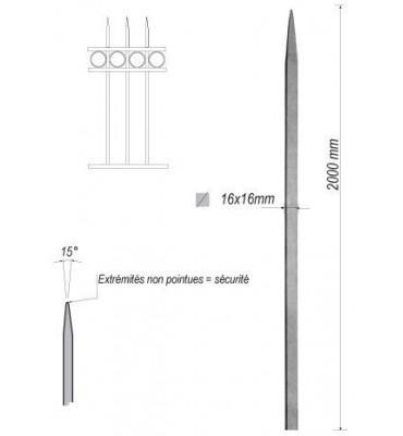 pièce élément ferronnier serrurier Barreau appointé CARRE Longueur 2000 Section 16x16 ACIER FER FORGE Ref: 1CL16-2000