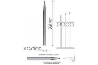 pièce élément ferronnier serrurier Barreau appointé CARRE Longueur 300 Section 16x16 ACIER FER FORGE Ref: 1CL16-300