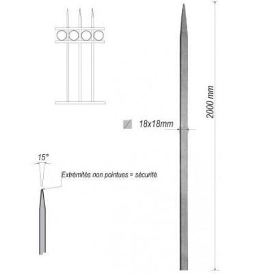 pièce élément ferronnier serrurier Barreau appointé CARRE Longueur 2000 Section 18x18 ACIER FER FORGE Ref: 1CL18-2000