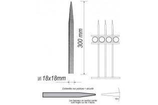 pièce élément ferronnier serrurier Barreau appointé CARRE Longueur 300 Section 18x18 ACIER FER FORGE Ref: 1CL18-300