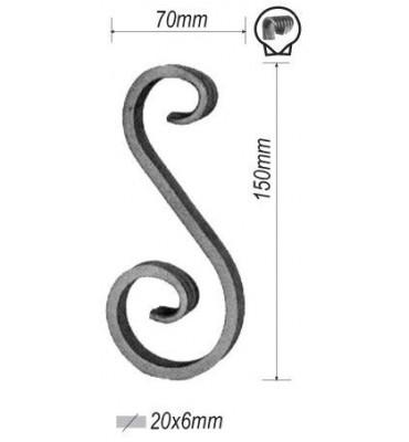 pièce élément ferronnier serrurier VOLUTE en S LISSE PATTE D OIE 150x70 Section 20x6 ACIER FER FORGE Ref: F53.432