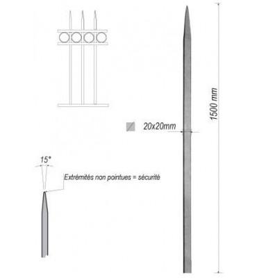 pièce élément ferronnier serrurier Barreau appointé CARRE Longueur 1500 Section 20x20 ACIER FER FORGE Ref: 1CL20-1500