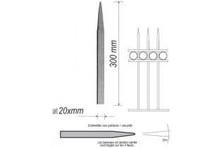 pièce élément ferronnier serrurier Barreau appointé CARRE Longueur 300 Section 20x20 ACIER FER FORGE Ref: 1CL20-300