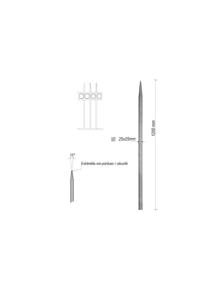 pièce élément ferronnier serrurier Barreau appointé CARRE Longueur 1200 Section 25x25 ACIER FER FORGE Ref: 1CL25-1200