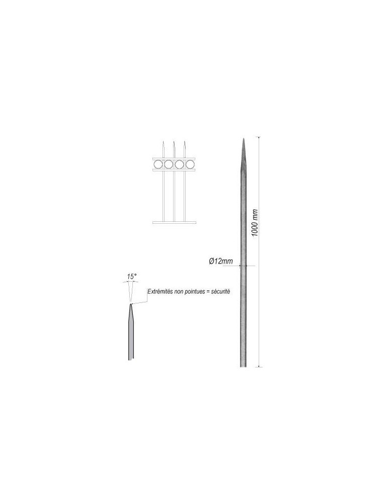pièce élément ferronnier serrurier Barreau appointé ROND Longueur 1000 Diamètre 12 ACIER FER FORGE Ref: 1RL12-1000