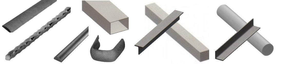 Barres en fer forgé ou acier, rondes, carrées, plates, creuses (tube), cornières en L ou en T