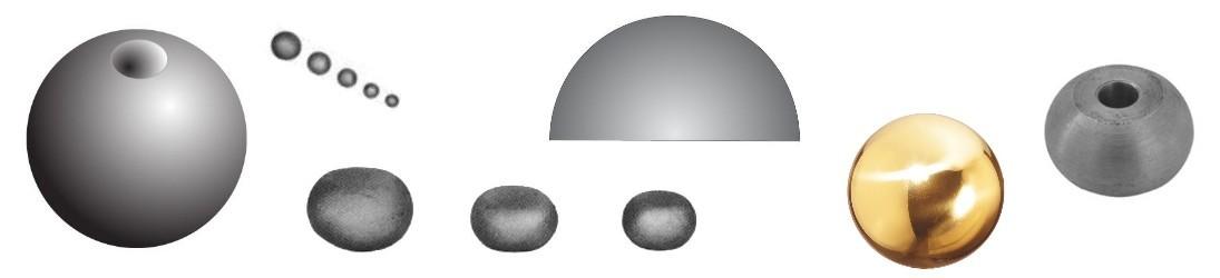 Boules, demi boule, sphère, méplate en acier fer forgé ou laiton