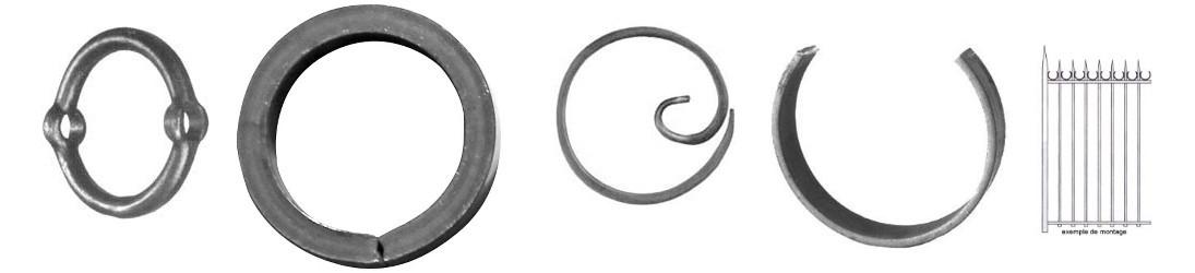 Cercles, ovales ou anneaux en acier fer forgé pour portail, portillon, marquise, tonnelle, pergola et marquise
