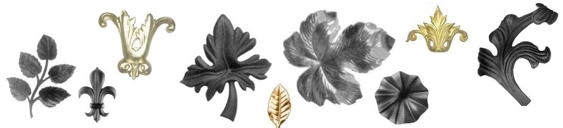 Feuillages, fleurs, acanthe, lys coupelle, étrusque, en acier fer forgé, en laiton, estampé ou forgé
